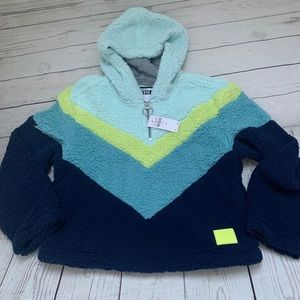 Justice girls blue Sherpa hoodie size 8 NWT